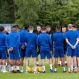 Steven Gerrard all-smiles overseeing first Rangers training session –Boss gets stuck in