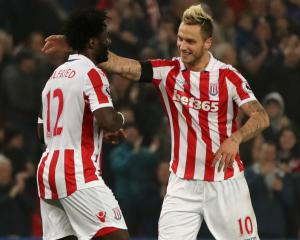 Mark Hughes hopes for Wilfried Bony goal glut as striker's brace sinks Swansea