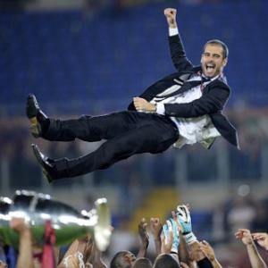 Pep, Pep, hooray! Barcelona coach Guardiola is walking on air