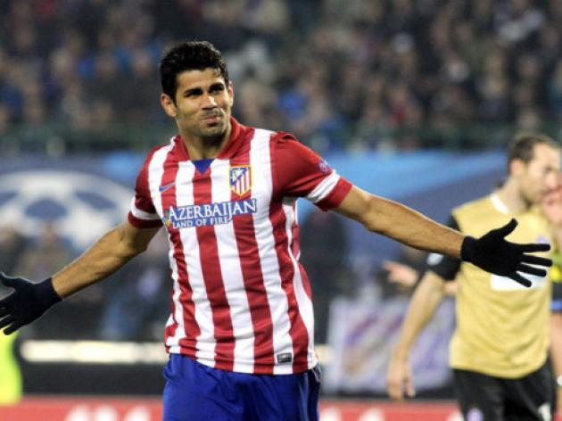 Costa, Villa both net to keep Atletico on Barcas tails
