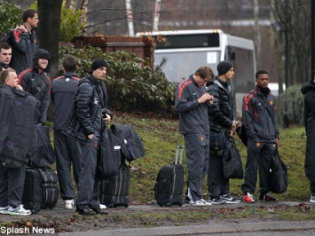 All not aboard: Manchester United players forced to wait on the roadside for team bus