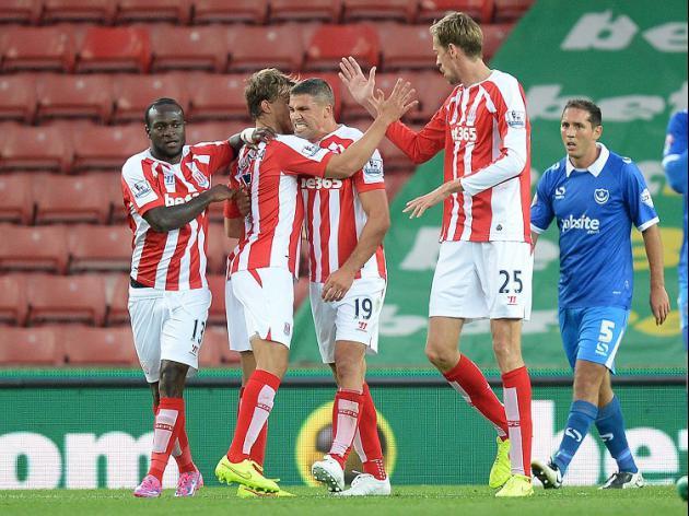 Stoke ease through against Pompey