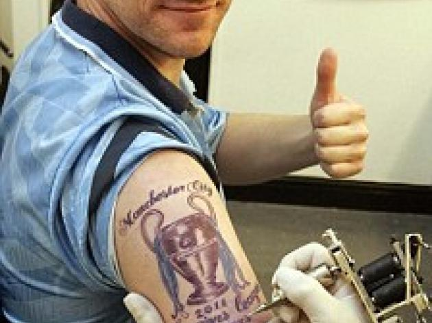 Manchester City fan left red-faced by '2011 Champions League Winners' tattoo