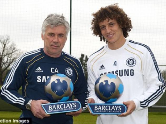 Carlo Ancelotti and David Luiz take March Barclays awards