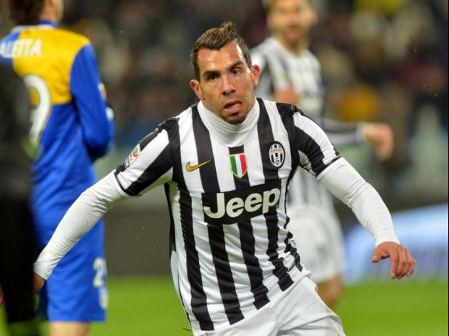 Tevez at the double as Juve restore 14-point lead