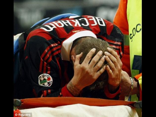 David Beckham in tears as cruel achilles injury in AC Milan win wrecks World Cup dream