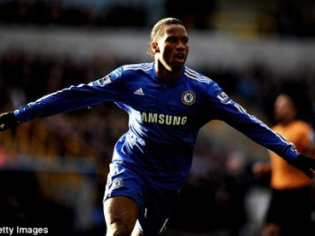Wolves 0 Chelsea 2: Deadly Drogba's  double fires Blues four points clear