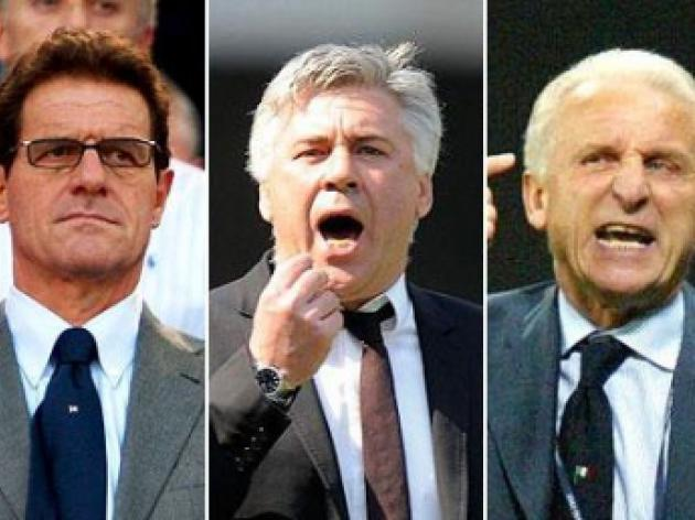 The Italian mob: Fabio Capello Carlo Ancelotti and Giovanni Trapattoni