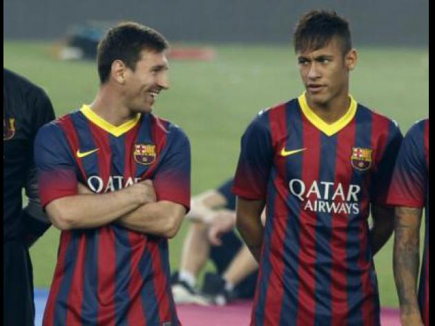 Messi happy alongside Neymar at Barcelona