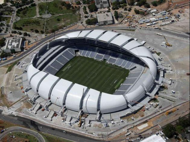 Brazil races to finish World Cup opener arena