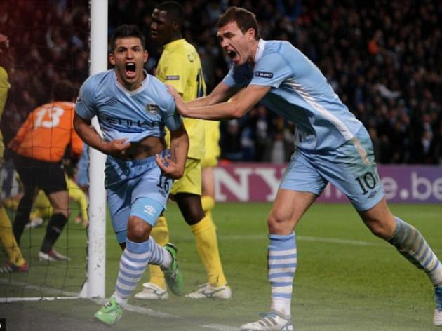 Manchester City 2 Villarreal 1: Aguero spares Mancini's blushes with late winner