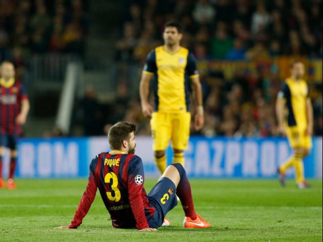 Pique out for four weeks, Costa to undergo tests