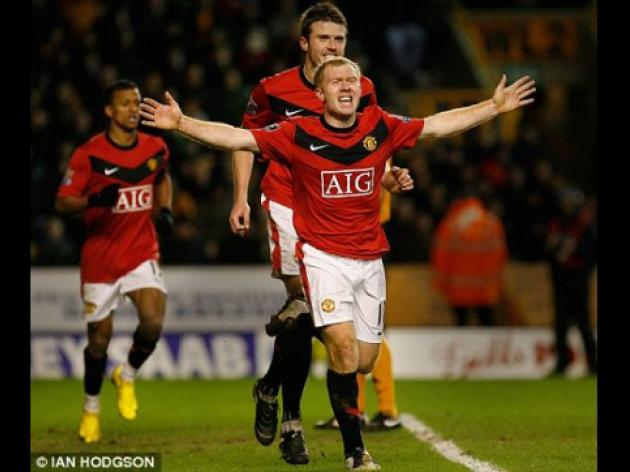Wolves 0 Manchester United 1: Scholes in the 100 club as Berbatov shows a ton of class