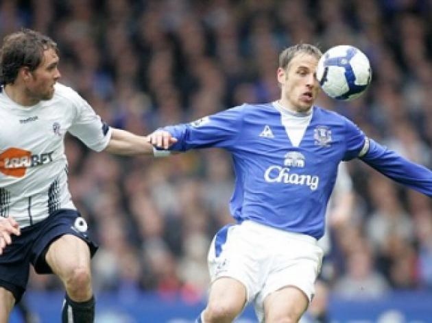 Everton 2 Bolton 0: Neville refuses to give up on World Cup dream