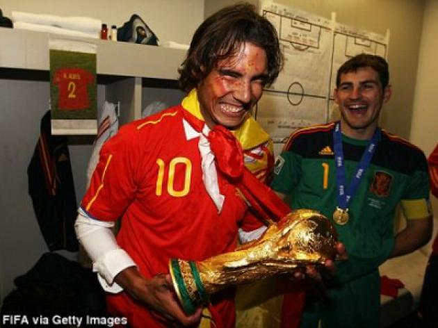 WORLD CUP 2010: It's a riot for Rafa Nadal but tense time for Torres as Spain enjoy glory