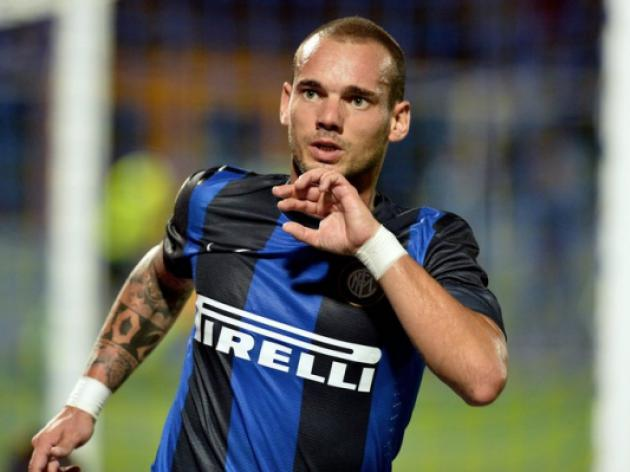 Happy Sneijder waves goodbye to Inter