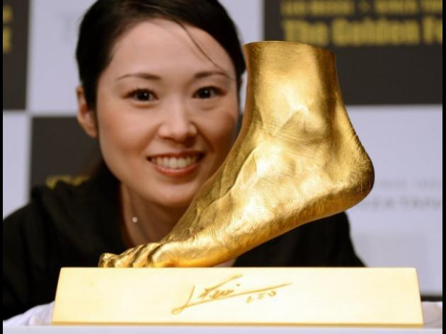 Gold replica of Lionel Messi's left foot on sale in Japan