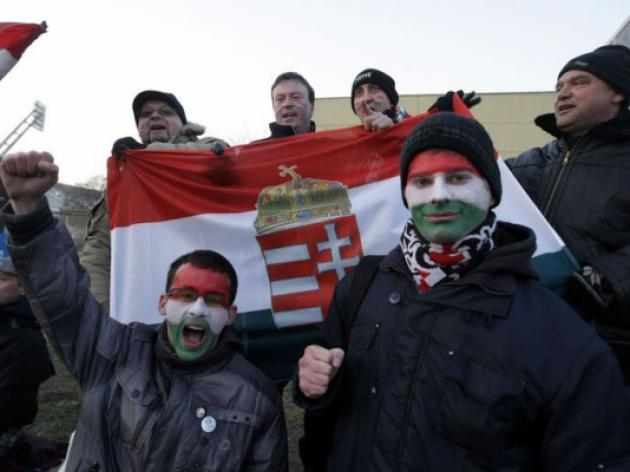 Hungary fans protest outside closed-doors game