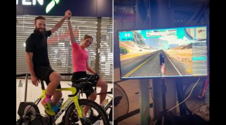 Danish ultracyclist completes 5,000km Zwift ride inside shopping centre