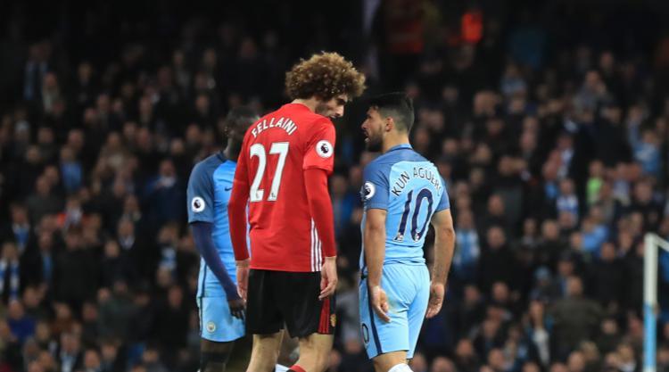 Marouane Fellaini sees red in goalless Manchester derby