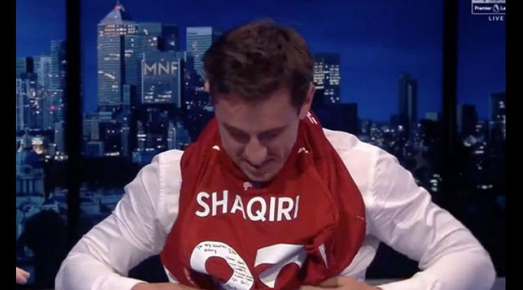 Gary Neville: Jamie Carragher forces Sky Sports pundit to wear Liverpool Shaqiri shirt